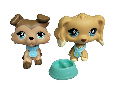 2U LPS Cocker Spaniel Brown #748 LPS Collie Dog Puppy #893 with Accessories Collar Food Bowl Collectible Toy Figure Gift 2PC -
