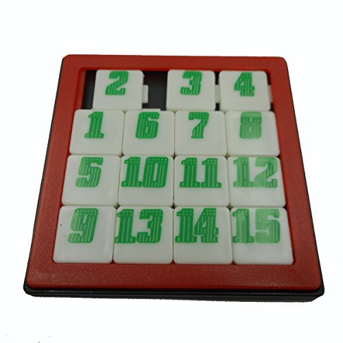 unbrand Puzzle Game Fifteen 15 Number Slide Jigsaw Brain Teaser (Red) ()