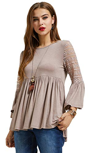SONJA BETRO Women's Knit Lace 3/4 Bell Ruffle Sleeve Empire Waist Babydoll Keyhole Back Tunic Top/Taupe/X-Large (Ruffle Bottom Tunic)
