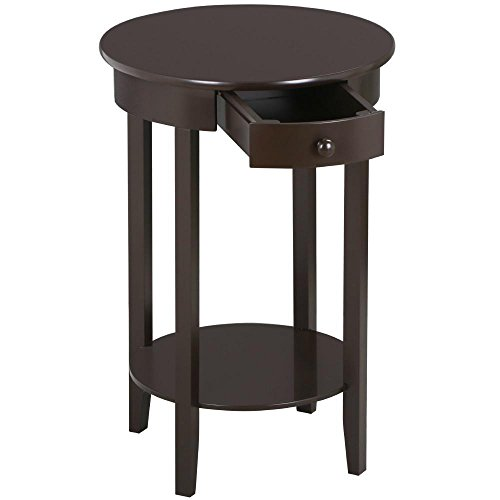 (Yaheetech Round Sofa Side End Table with Drawer and Shelf Nightstand Accent Tables for Living Room Bedroom Espresso)