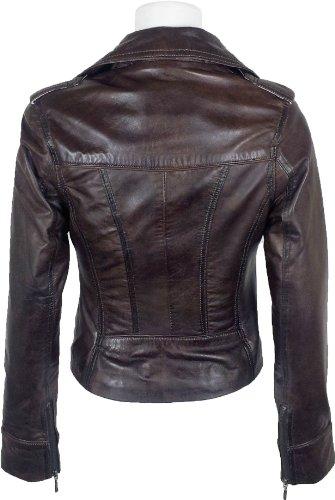 UNICORN Femmes Réel en cuir Veste Brun Ciré #Z7