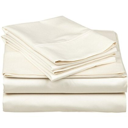 Queen Sleeper Sofa Bed Sheet Set Ivory Solid in 100% Egyptian Cotton-600 Thread Count