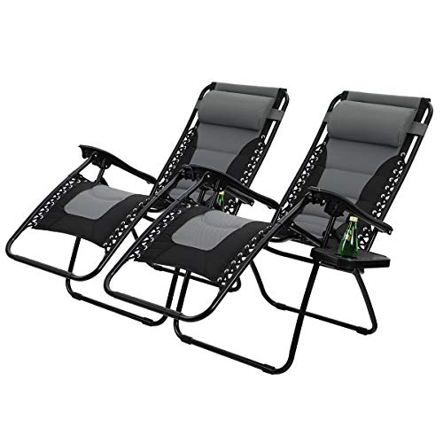 PHI VILLA Padded Zero Gravity Patio Lounge Chairs Adjustable Reclining with Cup Holders