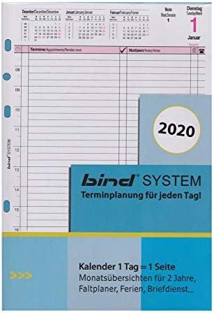 bind B550320 - Kalendereinlage für Tageskalender A5 - Jahr 2020, 1 Tag / 1 Seite, Terminkalender mit System