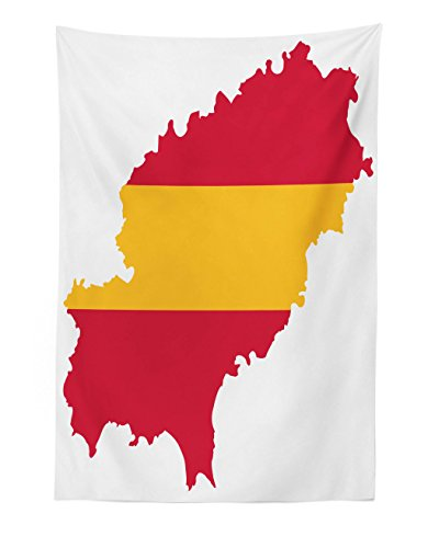 Lunarable Ibiza Tapestry, Balearic Island Map with Spain Flag Pattern Exotic Ibiza Holiday Theme, Fabric Wall Hanging Decor for Bedroom Living Room Dorm, 30 W X 45 L Inches, Yellow and Dark Coral by Lunarable