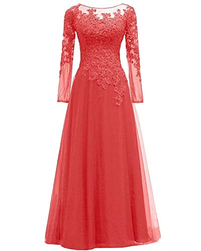 Women's Lace Appliques Mother of The Bride Dress Tulle Long Sleeves Evening Prom Gown Beaded Bridesmaid Dresscustom 26 Plus