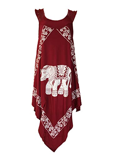 (India Boutique Crochet Dress Embroidery Summer Beach Handkerchief Umbrella Dress (Maroon/Elephant))