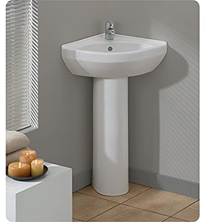 Cheviot Petite Corner Pedestal Sink 944W White