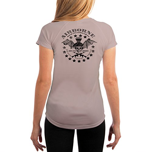 Dead Or Alive Clothing Women's Army 101ST Airborne UPF 50+ Short Sleeve T-Shirt Large Athletic Grey