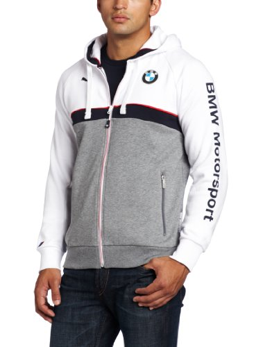 PUMA Men's BMW Hooded Sweat Jacket, White, XX Large at Amazon