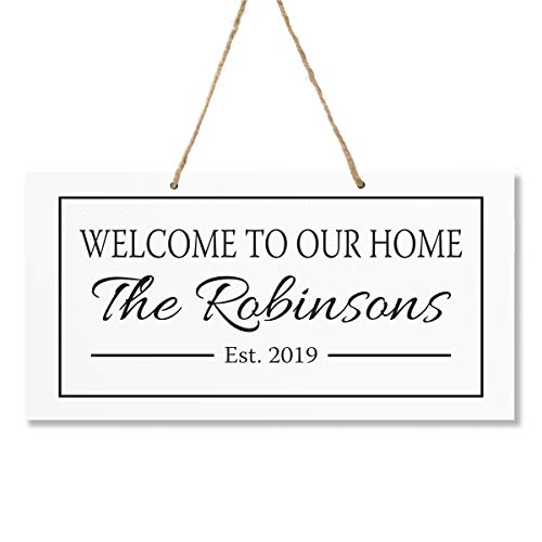 LifeSong Milestones Personalized Last Name Family Sign Established Date Wall Decorations for Living Room - Home Wall Art - Wooden Rope Hanging Gift 7.75