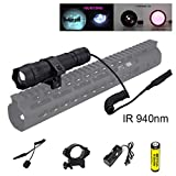 BESTSUN 940nm IR illuminator Infrared Light Night Vision Adjustable Focus LED Flashlight Lamp for Hunting with Smart Remote Switch, Rail Rifle Mount, Rechargeable Battery