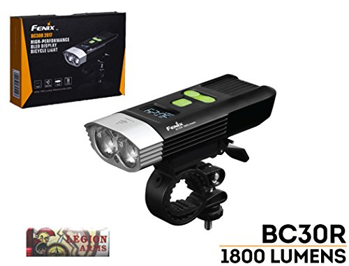 Fenix BC30R 2017 edition 1800 Lumens LED bike light, OLED display screen for the rest runtime and battery percentage, 5200mAh rechargeable battery, USB charging cord and LegionArms sticker Review
