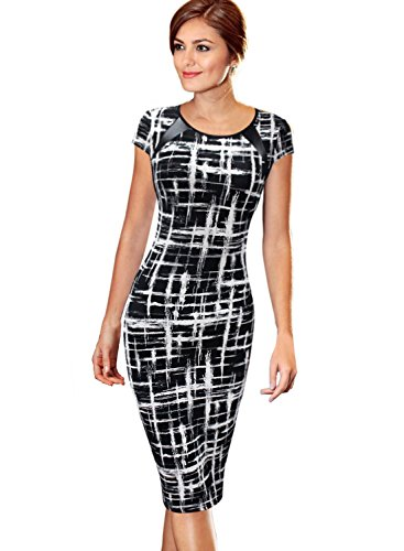 VfEmage Women's Printed Patchwork Wear to Work Office Casual Pencil Dress 2110 (Patchwork Printed)