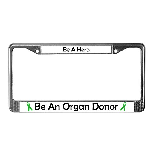 CafePress Bold Organ Donor Chrome License Plate Frame, License Tag Holder