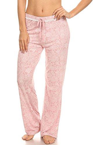 Marilyn Monroe Wide Leg Pajama Bottom Night Lounge Pants Drawstring Waist Light Pink Large