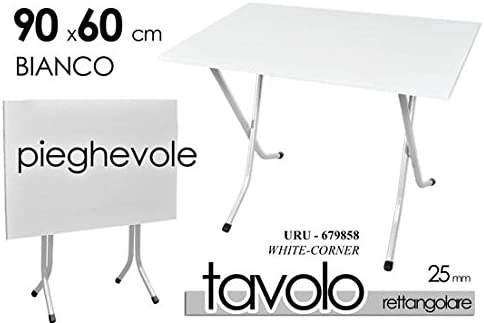 TAVOLO TAVOLINO RETTANGOLARE PIEGHEVOLE ESTERNO E INTERNO PIANO RESINA BIANCO STRUTTURA FERRO CAMPEGGIO