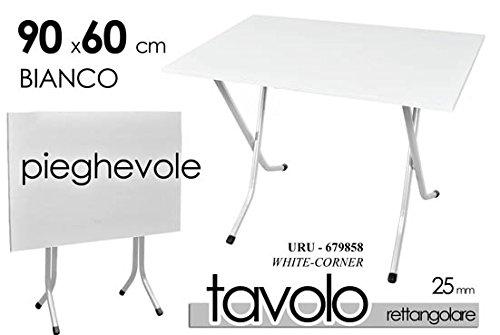 TAVOLO TAVOLINO RETTANGOLARE PIEGHEVOLE ESTERNO E INTERNO PIANO RESINA BIANCO STRUTTURA FERRO CAMPEGGIO Giardicasa