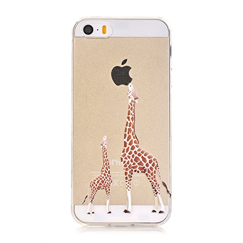 best sneakers a92c5 76b5a iPhone SE Case,iPhone 5/5S Case, LUOLNH [New Creative Design] Flexible Soft  TPU Silicone Gel Soft Clear Phone Case Cover for iPhone SE 5 5S,( 2 ...