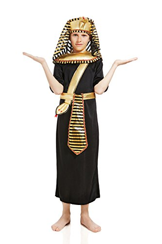 Kids Boys King Pharaoh Tut Halloween Costume Egyptian God Dress Up & Role Play (6-8 years, black, gold)