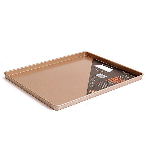 12 x 10 Inch Carbon Steel Baking Pan, Momugs Nonstick Square Bakeware Roasting Tray, Gold (Stick Pan Metal Non)