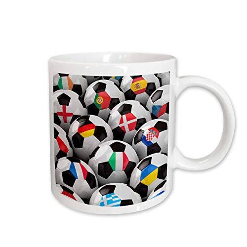 3dRose Multiple European Countries, Flags on Soccer Balls, Ceramic Mug, 15-Oz
