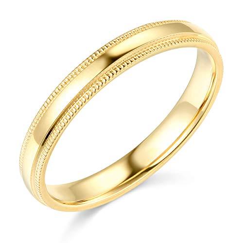- 14k Yellow Gold 3mm SOLID COMFORT FIT Plain Milgrain Wedding Band - Size 6.5