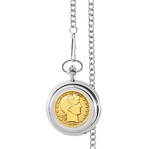 Barber Watch - Gold-Layered Silver Barber Half Dollar Pocket Watch