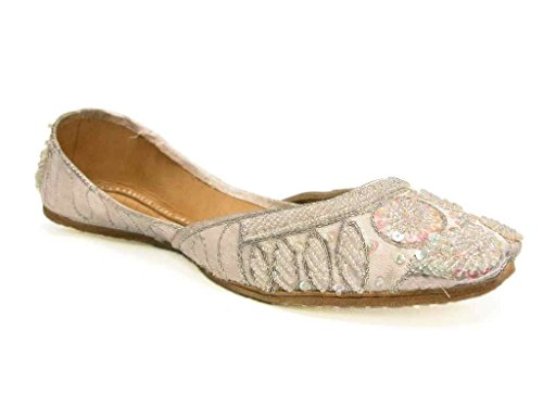 Beachcombers Womens Khussa Shoes Silk Beaded Flats Shoes B01CURN2T6 Shoes Khussa 579edc
