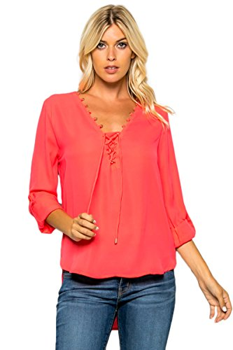 Hot Pink Halter Corset (Women's Front Lace Up Chiffon Shirt Blouse Hot Pink Small RON1035)
