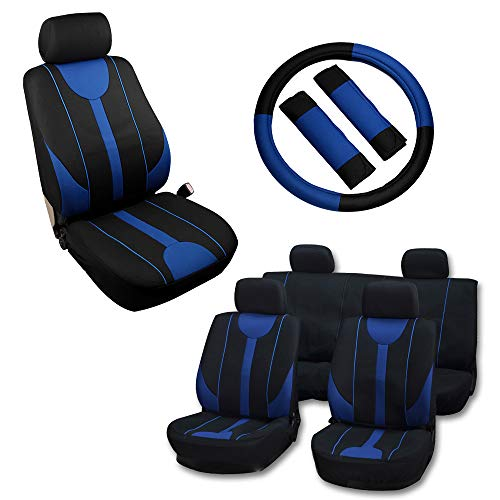 OCPTY Car Seat Cover, Stretchy Universal Seat Cushion W/Steering Wheel Cover Breathable Automotive Accessories Washable Polyester for Most Cars(Black/Blue)