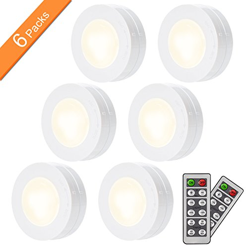 SAKING LED Under Cabinet Lighting, Wireless LED Puck Lights with Remote Control, Dimmable Closet Light, Battery Powered Under Counter Lights for Kitchen, Natural White 6 Pack - Lighting Display Cases