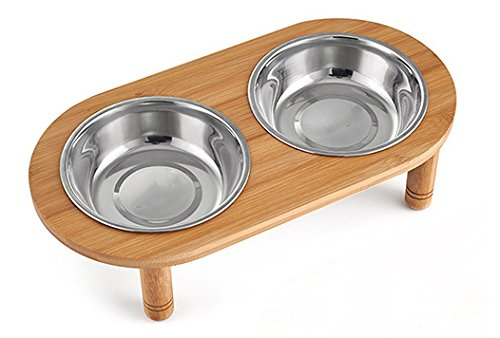at Bowls Stand with 2 Stainless Steel Bowls, Raised Pet Feeder Suitable for Small and Medium Dogs & Cats (Oval+ 2 Stainless Steel Bowls) (Raised Pet Feeding Stand)