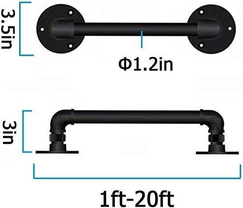WI.JU.H Pasamanos - Kit completo.Interiores y exteriores de hierro del tubo de agua de diseño escalera escaleras Pasamanos barandilla barra de apoyo - Negro (Size : 10ft)