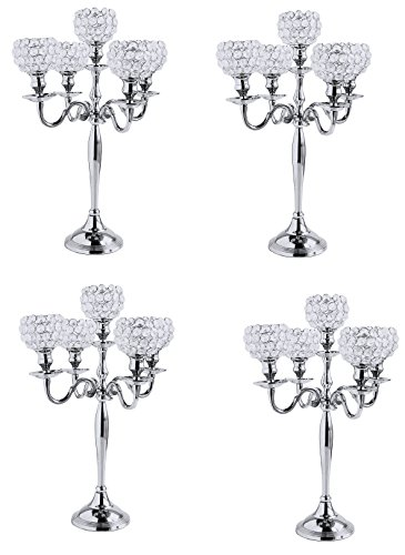 (20 Inch Tall Crystal Globe Silver 5 Arm Candelabras Wholesale Bulk Votive Tealight Candle Holders Wedding Centrepieces 4 Pcs Lot)