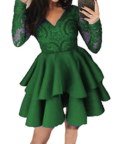 Prom Green Off 3 BD448 Style Dresses The Homecoming Lace Shoulder Short Dresses BessDress UqvC00