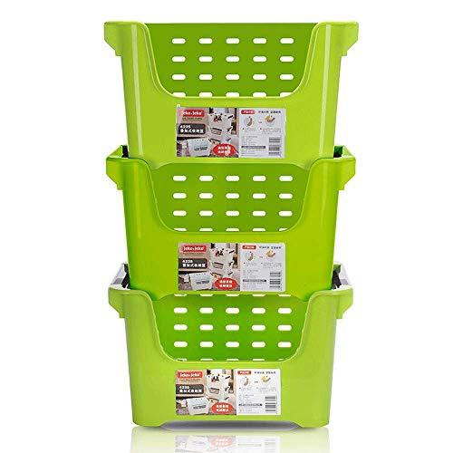 WF Cesta de Almacenamiento Canasta de Almacenamiento de plástico obstaculizar la Cocina Estante Cesta Ropa Juguete...