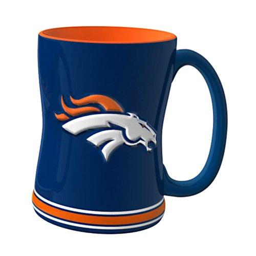NFL Denver Broncos Sculpted Relief Mug, 14-ounce, Navy Blue (Denver Broncos Cups)