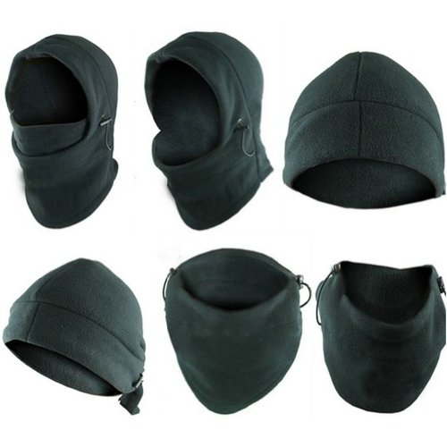 1 Thermal (6-in-1 Neck Warmer Hoods Ski Motor Hat Thermal Balaclava Scarf Fleece Face Cs Mask, Black, 	One Size Fits All)
