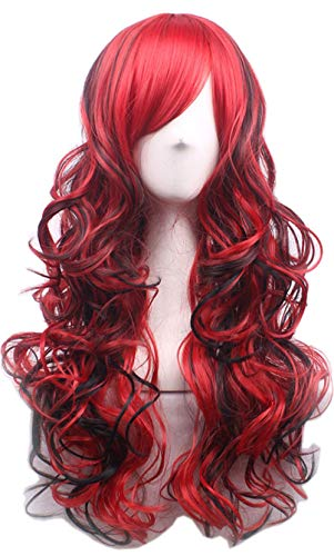 NEWPECK Girls Fashion Wavy Curly Long Hair Women Cosplay Wig Bright Red + -