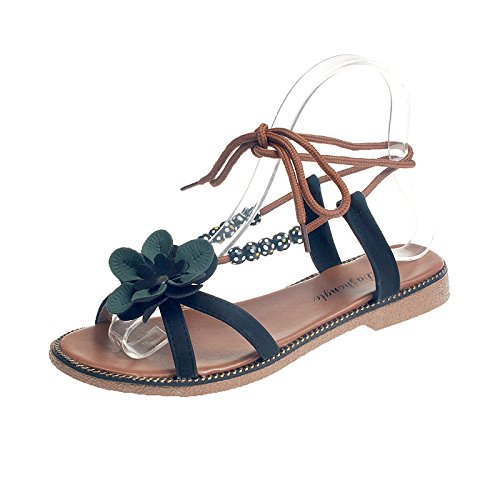 beads women's sandals negro flowers Rome students sandals sandals frenulum qXHUwppAOB