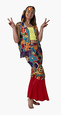 Hippie Pants, Jeans, Bell Bottoms, Palazzo, Yoga Flower Power 60s Hippy Adult Costume $22.89 AT vintagedancer.com