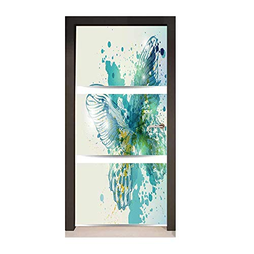 Homesonne Abstract Self Adhesive Wall Sticker Image of Three Banners with Artistic Butterfly and Blots Color Stains Hand Drawn Art Door Decals Blue Yellow,W23.6xH78.7