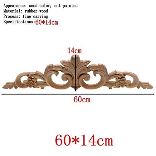 (ZAMTAC Simple Vintage Wood Carved Decal Corner Onlay Applique Frame Furniture Wall Unpainted for Home Cabinet Door Decor Craft - (Color: E))