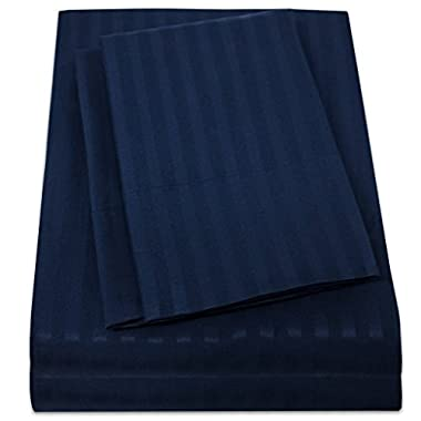 1500 Supreme Collection Dobby Striped Sateen 4 Piece Bed Sheet Set Deep Pocket - All Sizes, 23 Colors - Queen, Dobby Stripe Navy