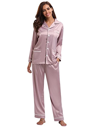 Aibrou Women's Satin Pajamas Set Long Sleeve and Long Button-Down Sleepwear Loungewear,Rose Pink,Medium