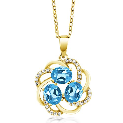 Gem Stone King 1.85 Ct Oval Swiss Blue Topaz 18K Yellow Gold Plated Silver Pendant 18k Yellow Gold Swiss