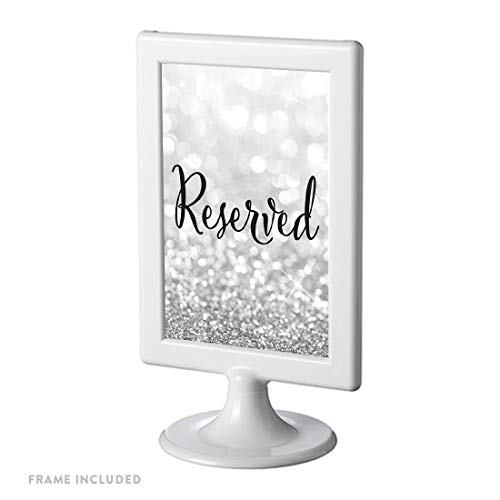 Andaz Press Framed Wedding Party Signs, Glitzy Silver Glitter, 4×6-inch, Reserved, 1-Pack
