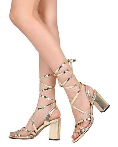 e2c0848090f Liliana Acra-1 Open Toe Cross Band Ankle Wrap Block Heel Sandal Pu Strappy  Lace