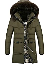 2ebe15ef2b6 Men s Plus Size Zip Up Faux Fur Hooded Mid Length Quilted Jacket Parka Coat  Outerwear